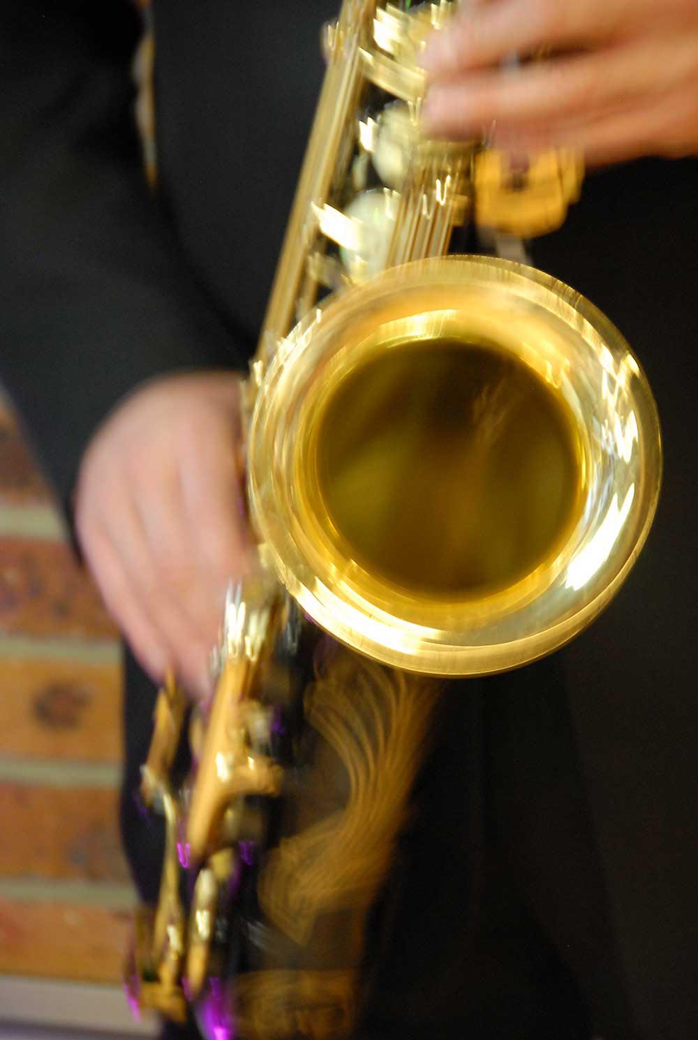 Saxophone detail at wedding party