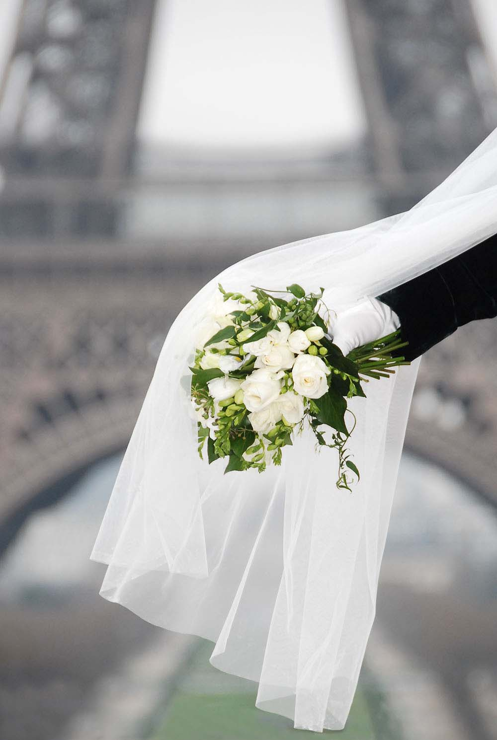 Detail of wedding bouquet with veil with Eiffel Tower backdrop, Paris, France