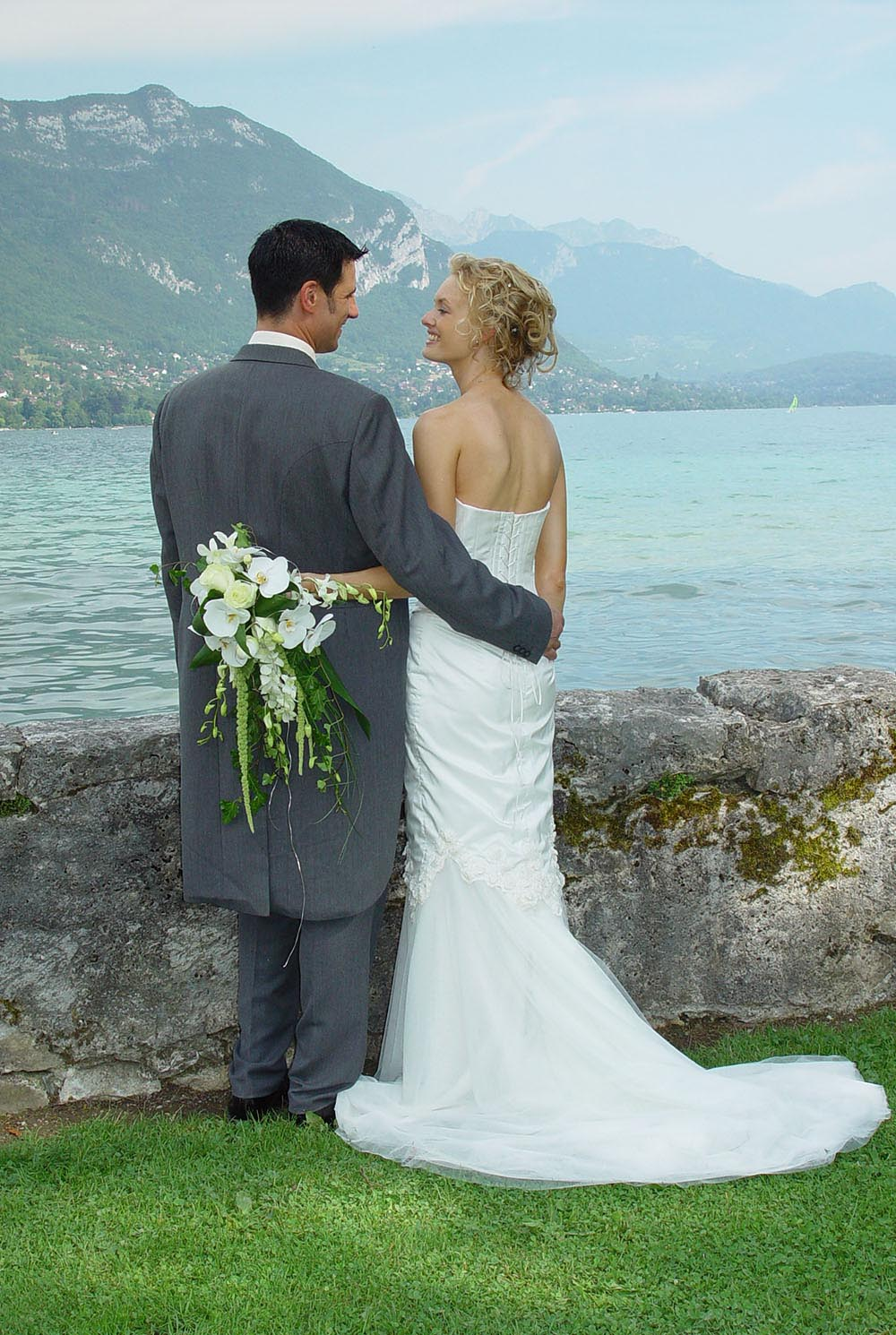 Wedding couple at the Imperial Hotel, Lake Annecy, France