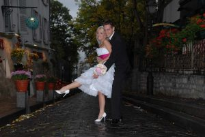 Photo before touching up of bride and groom on elopement, streets of Montmartre, Paris, France