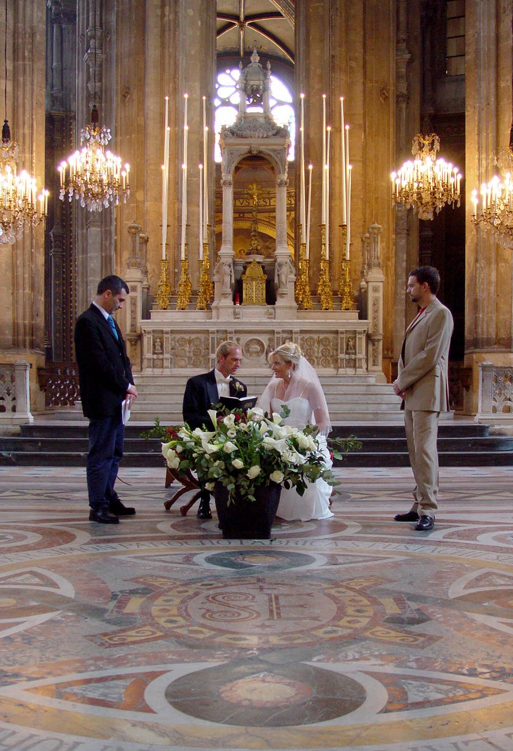 Wedding ceremony at Saint Opportune church in Paris, France