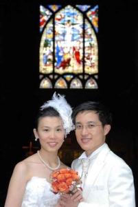 Wedding couple from Hong Kong at church, Paris, France