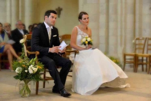 Wedding couple at Abbaye de Lessay, France