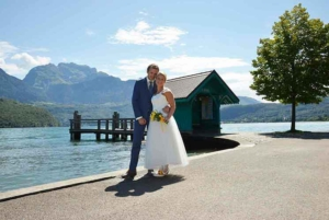Wedding couple in Saint Jorioz on lake of Annecy, France
